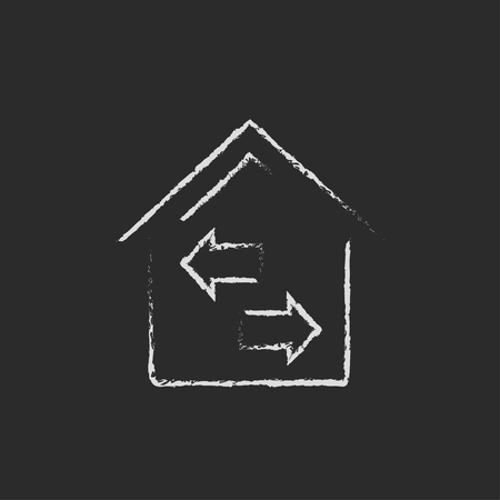 resale: Property resale hand drawn in chalk on a blackboard vector white icon isolated on a black background. Illustration