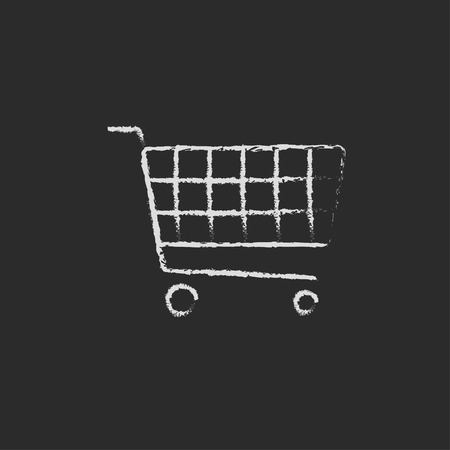 shopping cart icon: Shopping cart hand drawn in chalk on a blackboard vector white icon isolated on a black background.