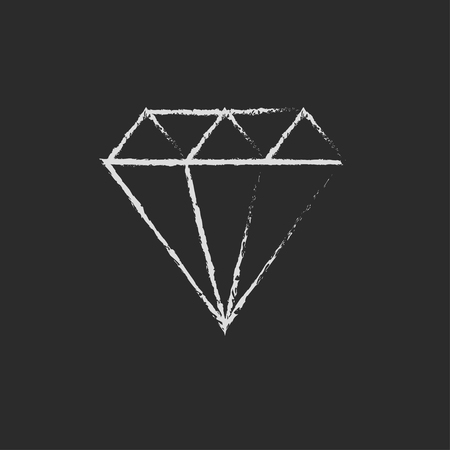 worth: Diamond hand drawn in chalk on a blackboard vector white icon isolated on a black background. Illustration