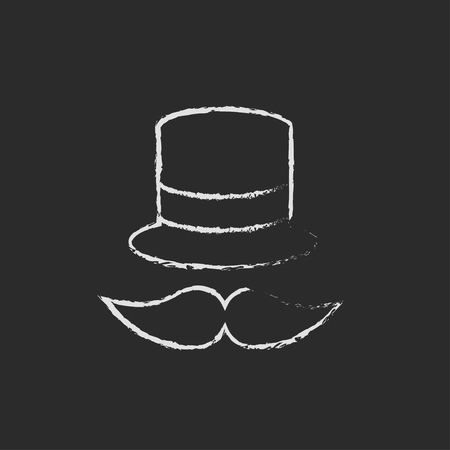 bowler hat: Hat and mustache hand drawn in chalk on a blackboard vector white icon isolated on a black background.
