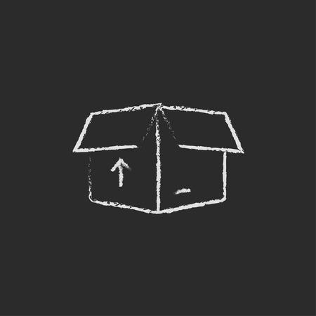 Abra el rectángulo con la flecha dibujado a mano con tiza en un icono blanco vector de pizarra aislado en un fondo negro. Foto de archivo - 45324442