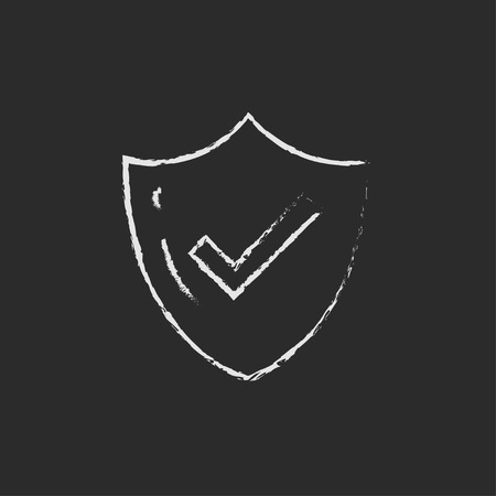 confirmed: Quality is confirmed hand drawn in chalk on a blackboard vector white icon isolated on a black background.