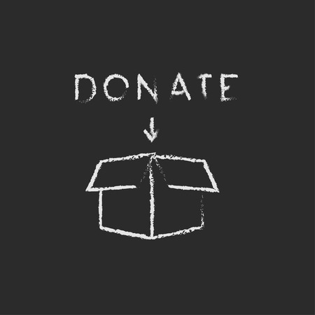 fundraiser: Donation box hand drawn in chalk on a blackboard vector white icon isolated on a black background. Illustration