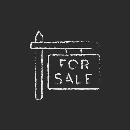 selloff: For sale signboard hand drawn in chalk on a blackboard vector white icon isolated on a black background.
