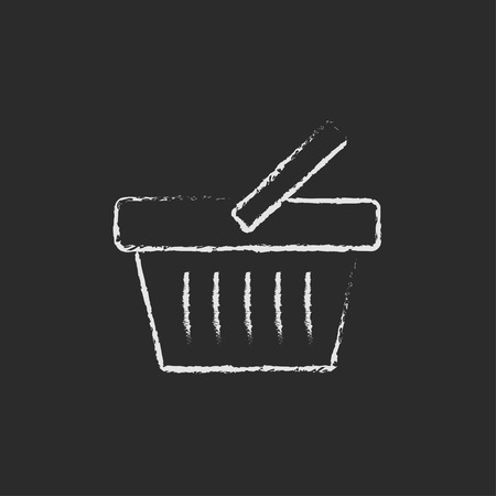 Shopping basket hand drawn in chalk on a blackboard vector white icon isolated on a black background. Illustration