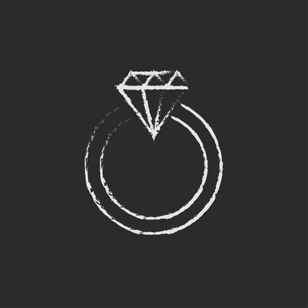 Diamond ring hand drawn in chalk on a blackboard vector white icon isolated on a black background. Ilustrace