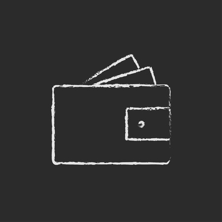 banknote: Wallet with monoey hand drawn in chalk on a blackboard vector white icon isolated on a black background. Illustration