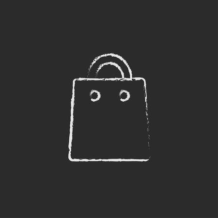 Shopping bag hand drawn in chalk on a blackboard vector white icon isolated on a black background.