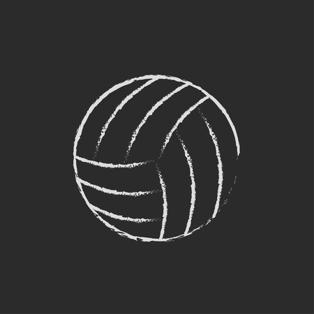 Volleyball ball hand drawn in chalk on a blackboard vector white icon isolated on a black background.