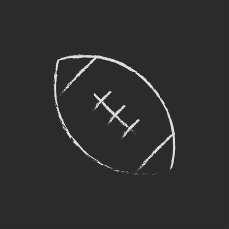Rugby football ball hand drawn in chalk on a blackboard vector white icon isolated on a black background.