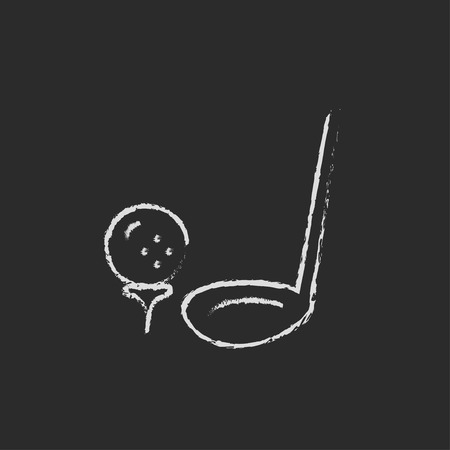 Golf ball and putter hand drawn in chalk on a blackboard vector white icon isolated on a black background. 矢量图像