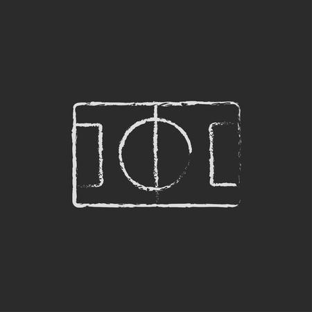 Stadion Layout Hand in Kreide auf einer Tafel Vektor-Blatt-Symbol isoliert auf einem schwarzen Hintergrund gezeichnet. Standard-Bild - 45324513