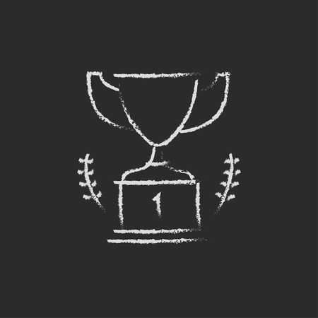 chalk outline: Trophy hand drawn in chalk on a blackboard vector white icon isolated on a black background. Illustration
