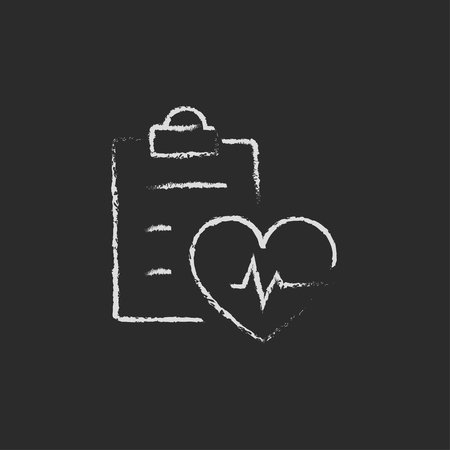 listening to heartbeat: Heartbeat record hand drawn in chalk on a blackboard vector white icon isolated on a black background. Illustration