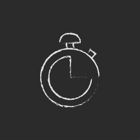 Stopwatch hand drawn in chalk on a blackboard vector white icon isolated on a black background.