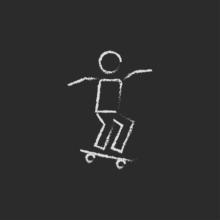 dangerous man: Man on skateboard hand drawn in chalk on a blackboard vector white icon isolated on a black background.