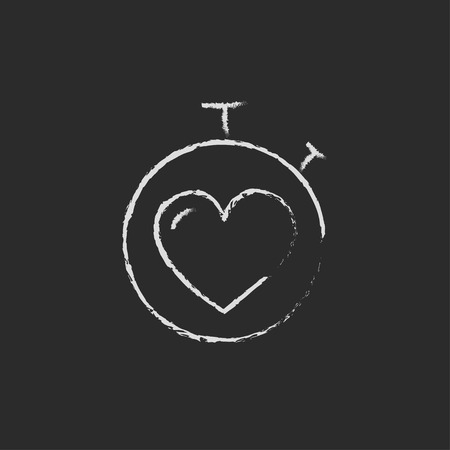 Stopwatch with heart hand drawn in chalk on a blackboard vector white icon isolated on a black background.