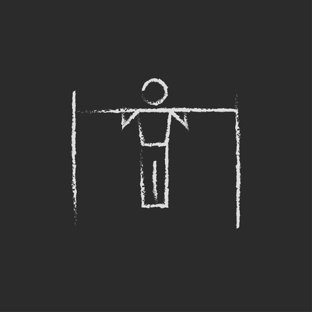 flexible: Gymnast on the bar hand drawn in chalk on a blackboard vector white icon isolated on a black background.