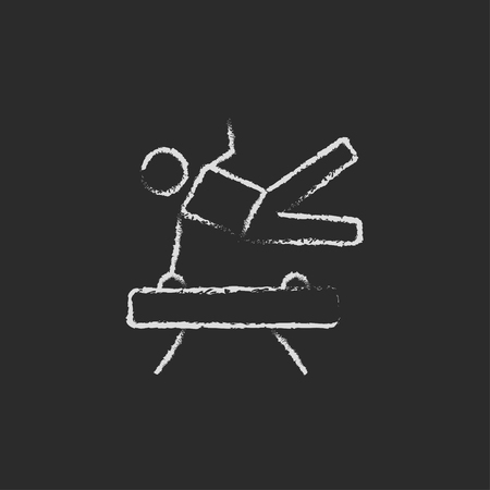 Gymnast on pommel horse hand drawn in chalk on a blackboard vector white icon isolated on a black background.