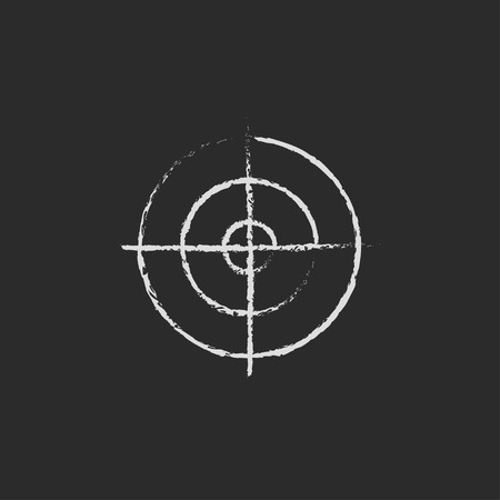 shooting target: Shooting target hand drawn in chalk on a blackboard vector white icon isolated on a black background.