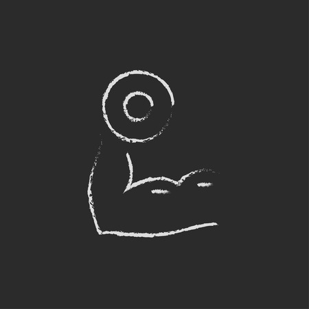 hand with dumbbell: Arm with dumbbell hand drawn in chalk on a blackboard vector white icon isolated on a black background.