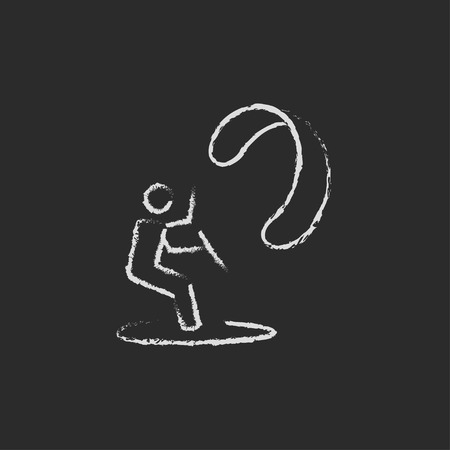 kite surfing: Kite surfing hand drawn in chalk on a blackboard vector white icon isolated on a black background.