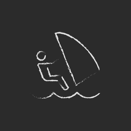 wind surfing: Wind surfing hand drawn in chalk on a blackboard vector white icon isolated on a black background.