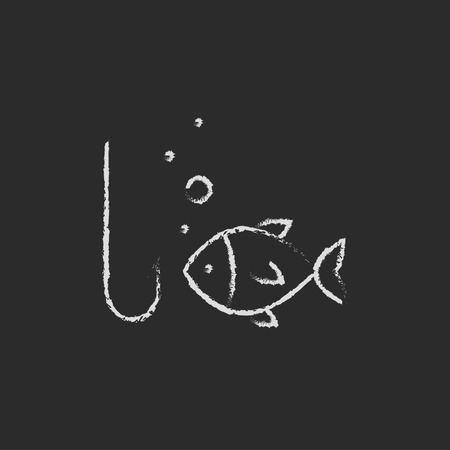 Fish with hook hand drawn in chalk on a blackboard vector white icon isolated on a black background.