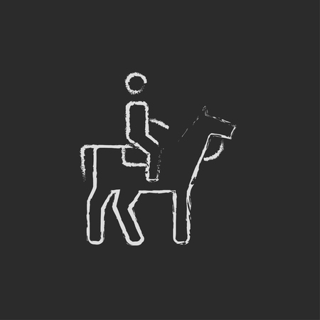 stirrup: Horse riding hand drawn in chalk on a blackboard vector white icon isolated on a black background.