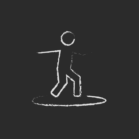 Man on a surfboard hand drawn in chalk on a blackboard vector white icon isolated on a black background.