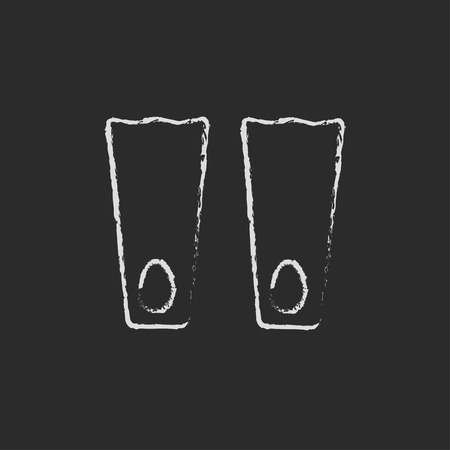 flippers: Flippers hand drawn in chalk on a blackboard vector white icon isolated on a black background. Illustration