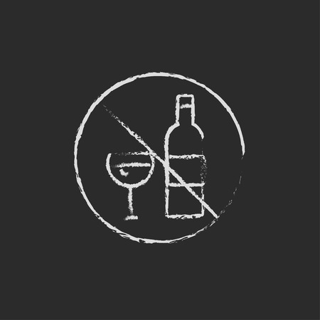 spirituous beverages: No alcohol sign hand drawn in chalk on a blackboard vector white icon isolated on a black background.