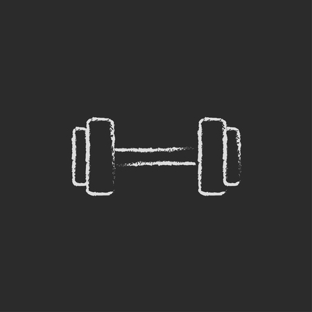 Dumbbell hand drawn in chalk on a blackboard vector white icon isolated on a black background.