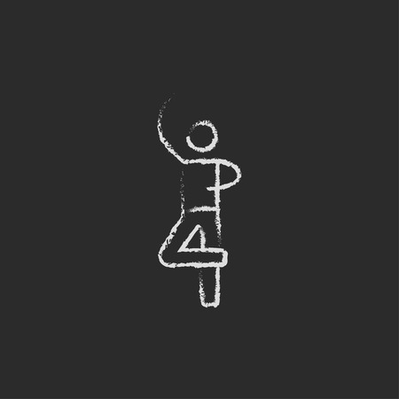 male ballet dancer: Male dancer hand drawn in chalk on a blackboard vector white icon isolated on a black background.