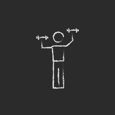 sportsmen: Man with dumbbell hand drawn in chalk on a blackboard vector white icon isolated on a black background.