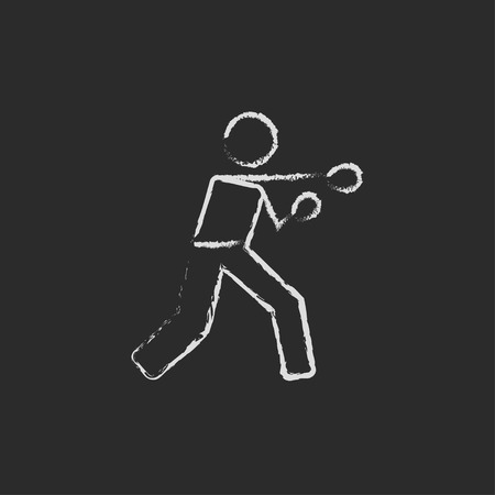 Boxing man hand drawn in chalk on a blackboard vector white icon isolated on a black background.