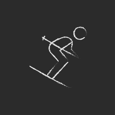 downhill skiing: Downhill skiing hand drawn in chalk on a blackboard vector white icon isolated on a black background.