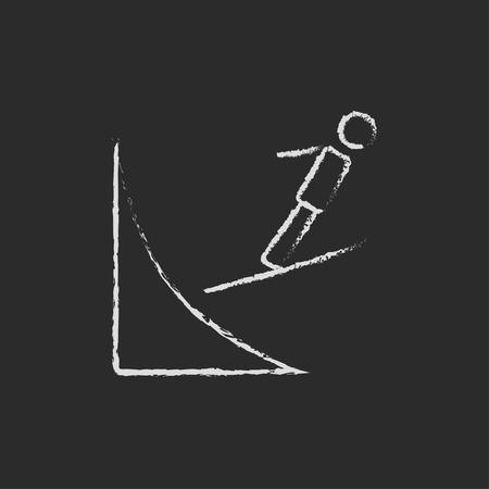 springboard: Salto de esquí dibujado a mano con tiza en un icono blanco vector de pizarra aislado en un fondo negro.