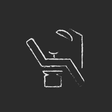 sillon dental: Dental mano silla dibujado en tiza en un icono blanco vector de pizarra aislado en un fondo negro. Vectores