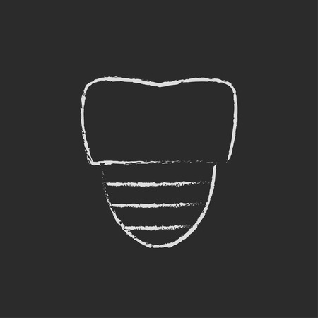 implanted: Tooth implant hand drawn in chalk on a blackboard vector white icon isolated on a black background.