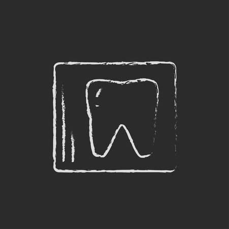 odontology: X-ray of the tooth hand drawn in chalk on a blackboard vector white icon isolated on a black background.