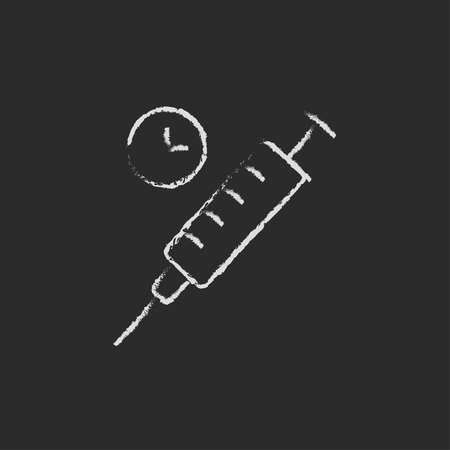 Syringe hand drawn in chalk on a blackboard vector white icon isolated on a black background. Illustration
