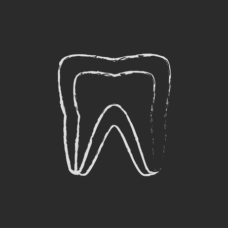 molar: Molar tooth hand drawn in chalk on a blackboard vector white icon isolated on a black background.