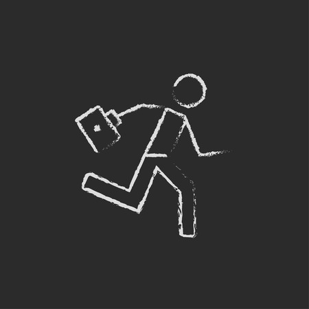 paramedic: Paramedic running with first aid kit hand drawn in chalk on a blackboard vector white icon isolated on a black background. Illustration