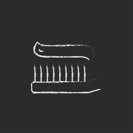 黒の背景に分離された黒板白ベクトル アイコンにチョークで描かれた歯磨き粉手で歯ブラシ。
