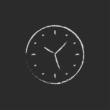 Wallclock hand drawn in chalk on a blackboard vector white icon isolated on a black background.