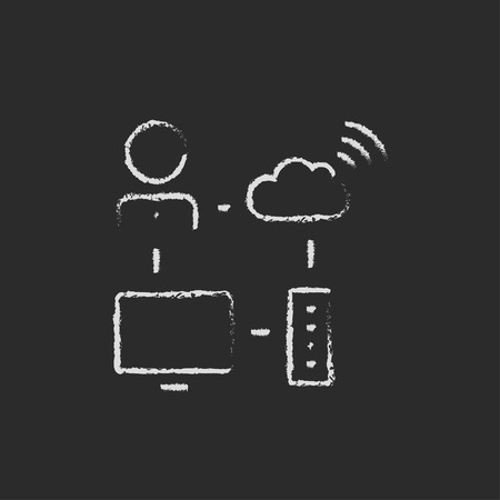 data synchronization: Cloud computing hand drawn in chalk on a blackboard vector white icon isolated on a black background.