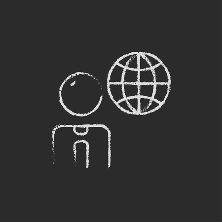 globe hand: Businessman with globe hand drawn in chalk on a blackboard vector white icon isolated on a black background.