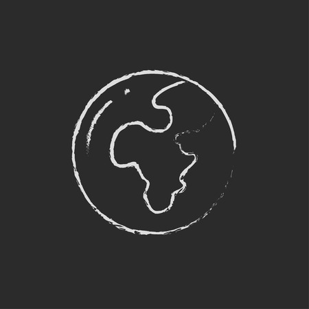 transnational: Globe hand drawn in chalk on a blackboard vector white icon isolated on a black background.