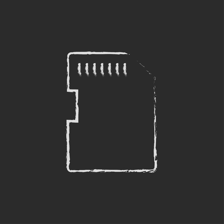 storage device: Memory card hand drawn in chalk on a blackboard vector white icon isolated on a black background.